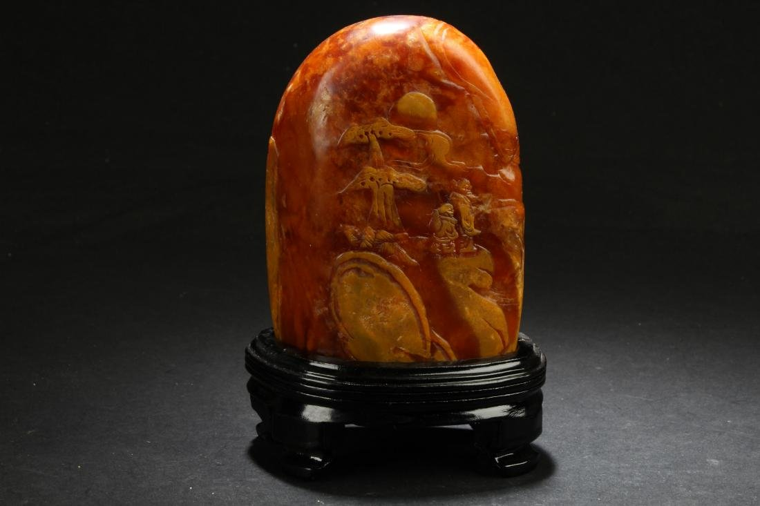 A Chinese Story-telling Estate Soapstone Display