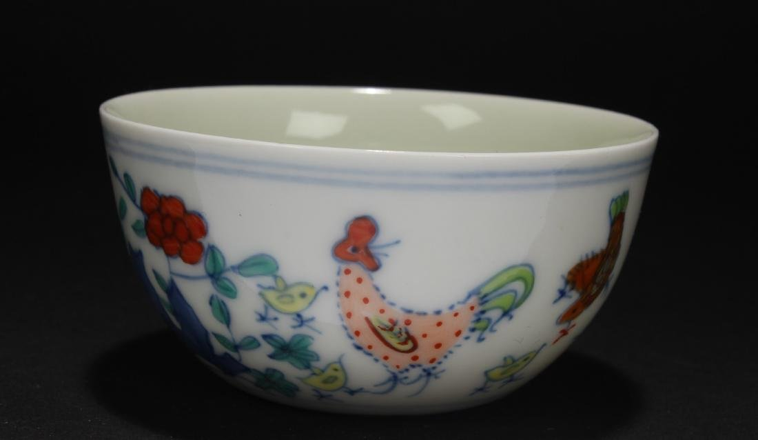 A Chinese Rooster-fortune Porcelain Cup