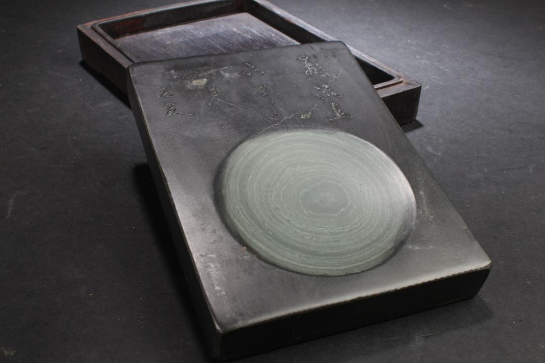 An Estate Chinese Lidded Inkstone Box Display - 3
