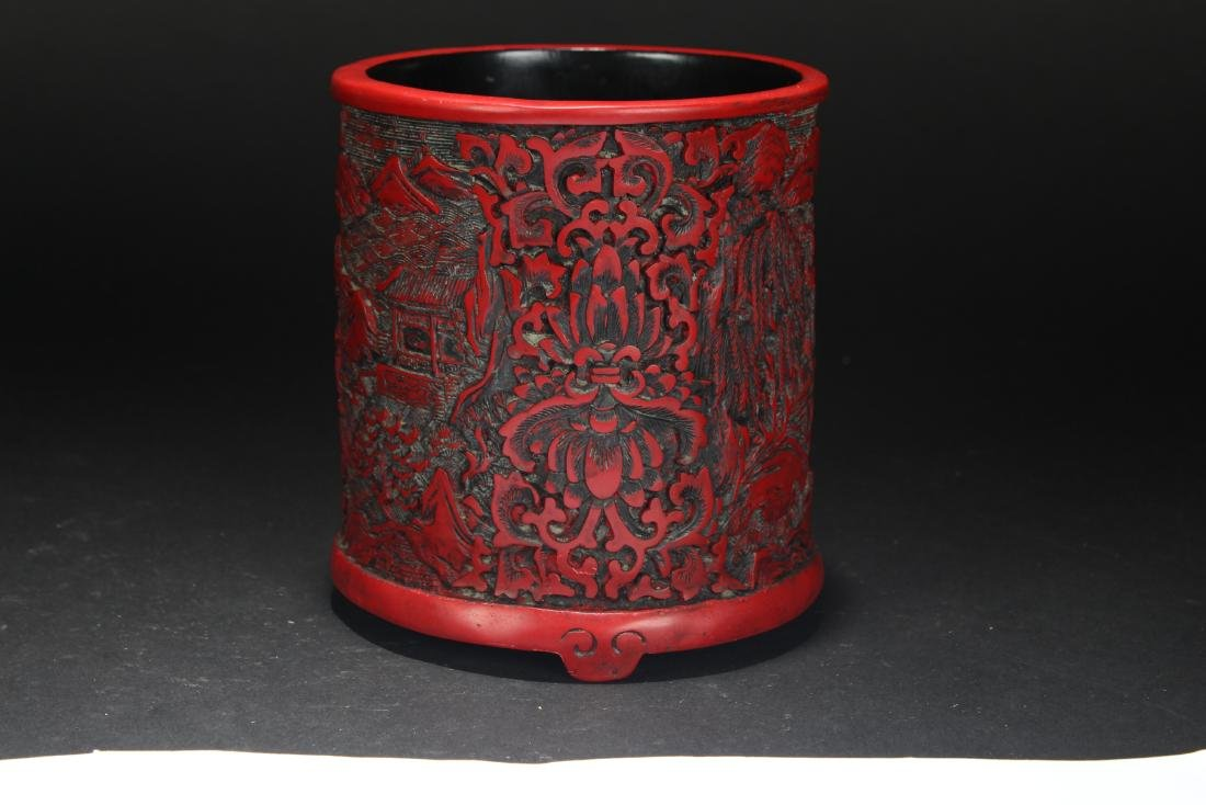 An Estate Chinese Temple-sceen Brush Pot - 2