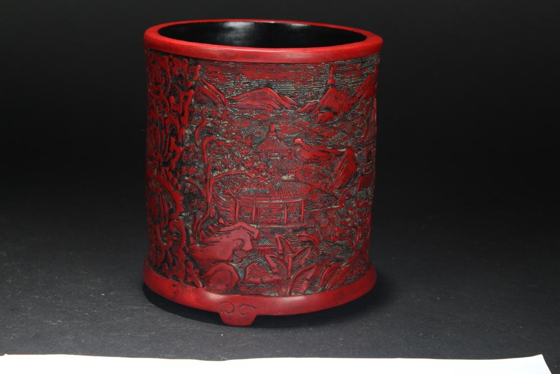 An Estate Chinese Temple-sceen Brush Pot - 3