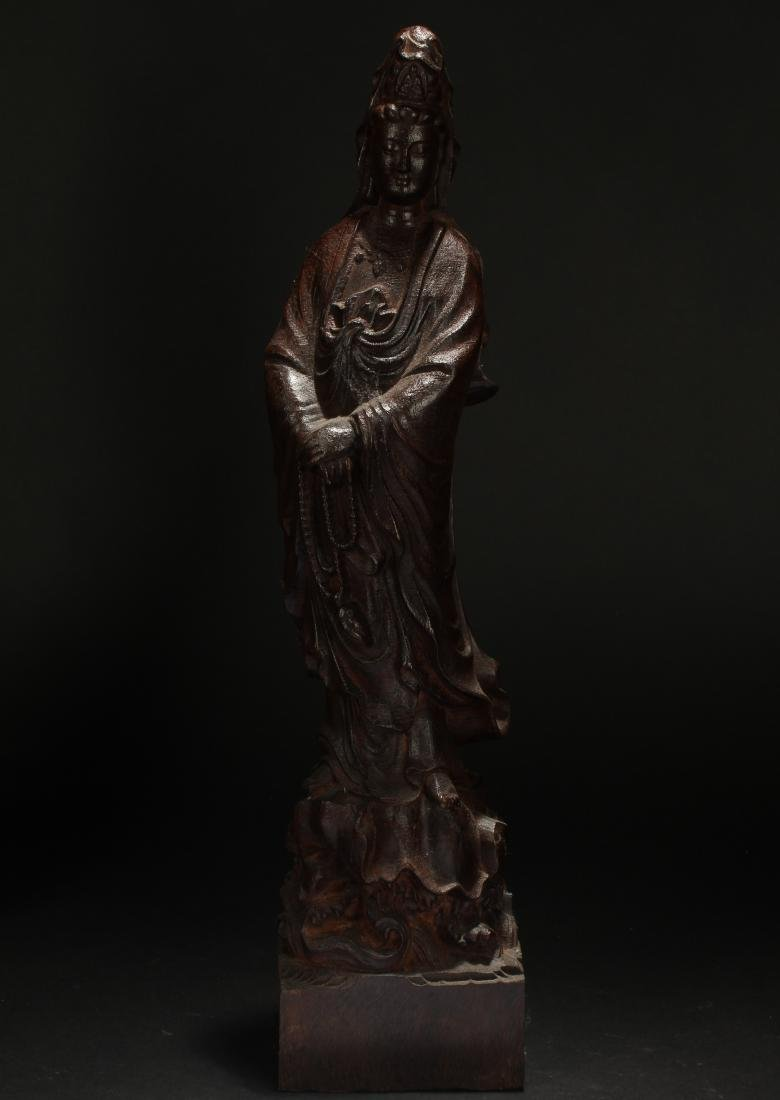 A Chinese Guanyin Estate Wooden Statue Display