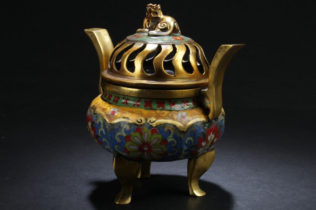A Chinese Lidded Estate Tri-podded Cloisonne Censer - 2