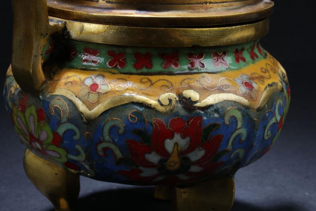 A Chinese Lidded Estate Tri-podded Cloisonne Censer - 5