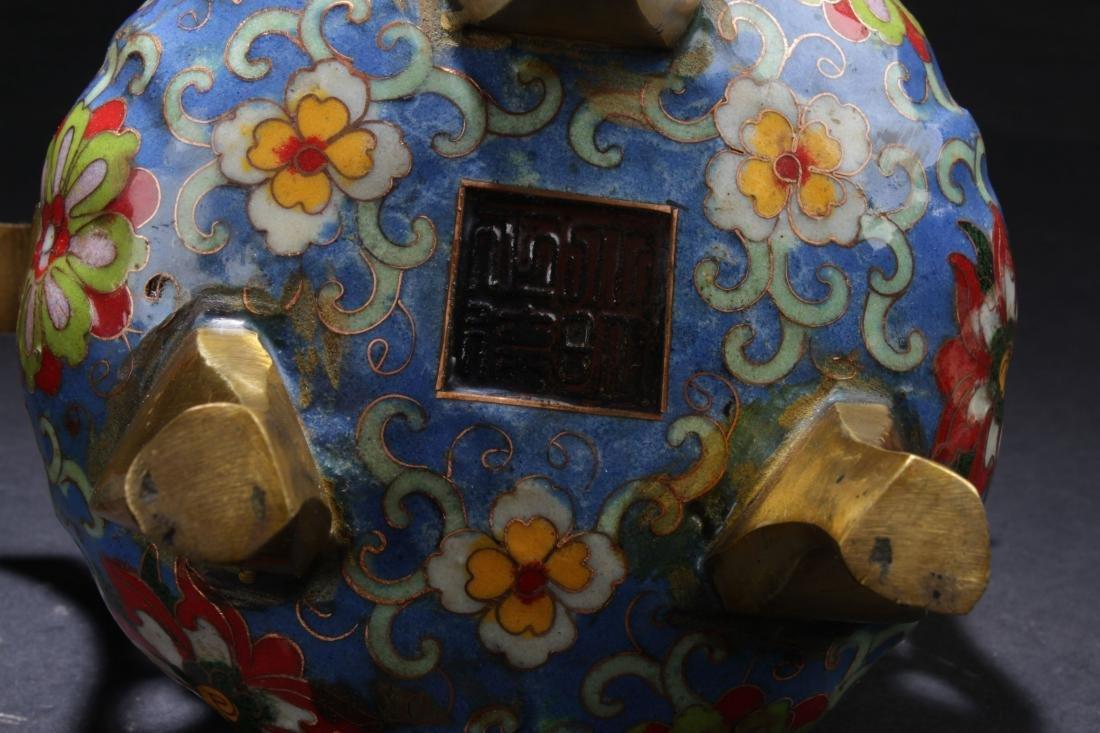 A Chinese Lidded Estate Tri-podded Cloisonne Censer - 8