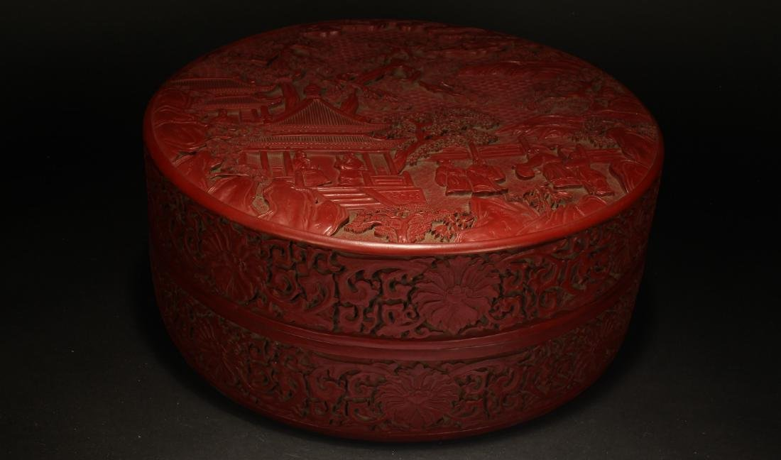 A Chinese Temple-sceen Estate Lidded Lacquer Box
