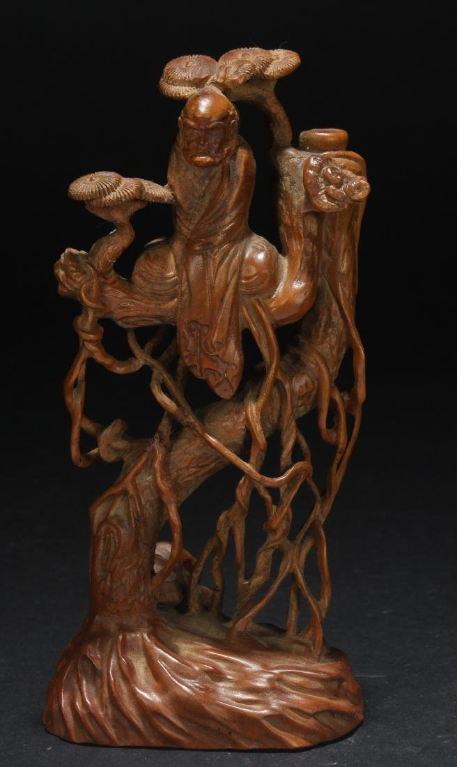 A Chinese Wooden Damo Statue Display