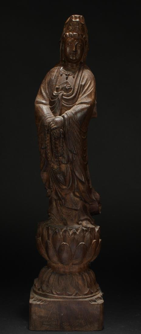 An Estate Chinese Guanyin Wooden Statue