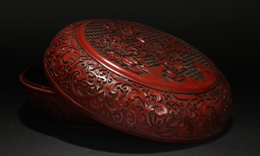 A Chinese Lidded Lacquer Flower-blossom Box Display