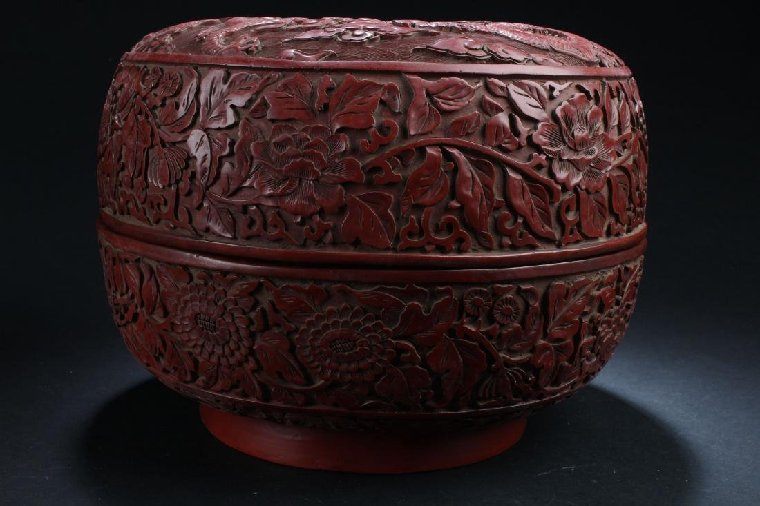 A Massive Estate Lidded Blossom Lacquer Box - 2