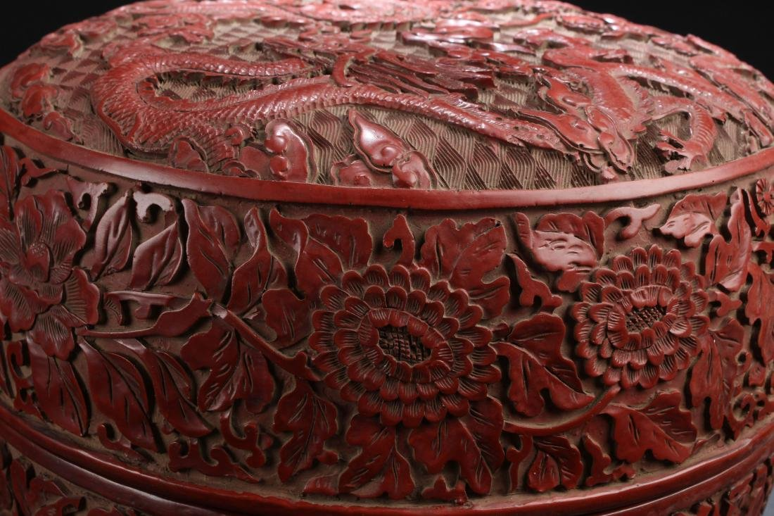 A Massive Estate Lidded Blossom Lacquer Box - 3