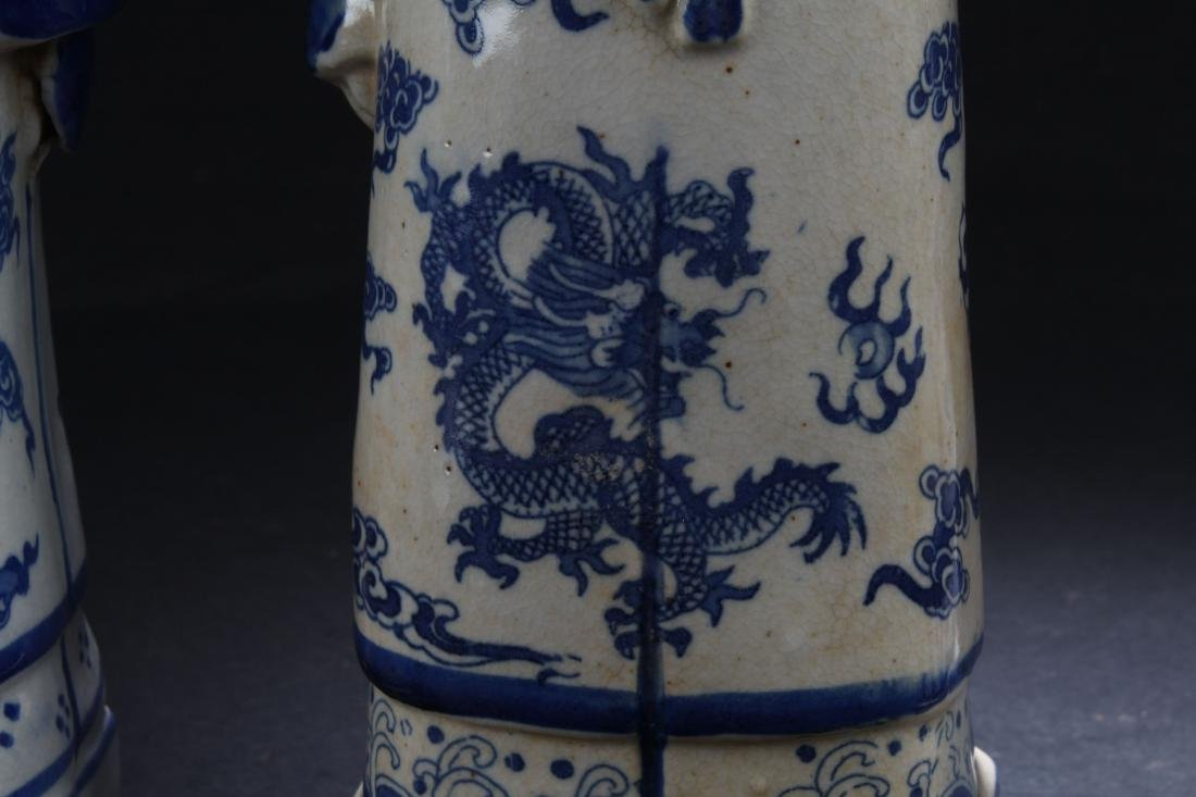 Group of Chinese Estate Blue and White Porcelain Statue - 7