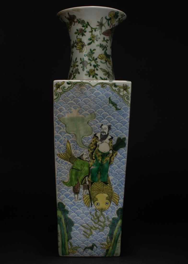 A Chinese Myth-story Estate Square-based Porcelain Vase