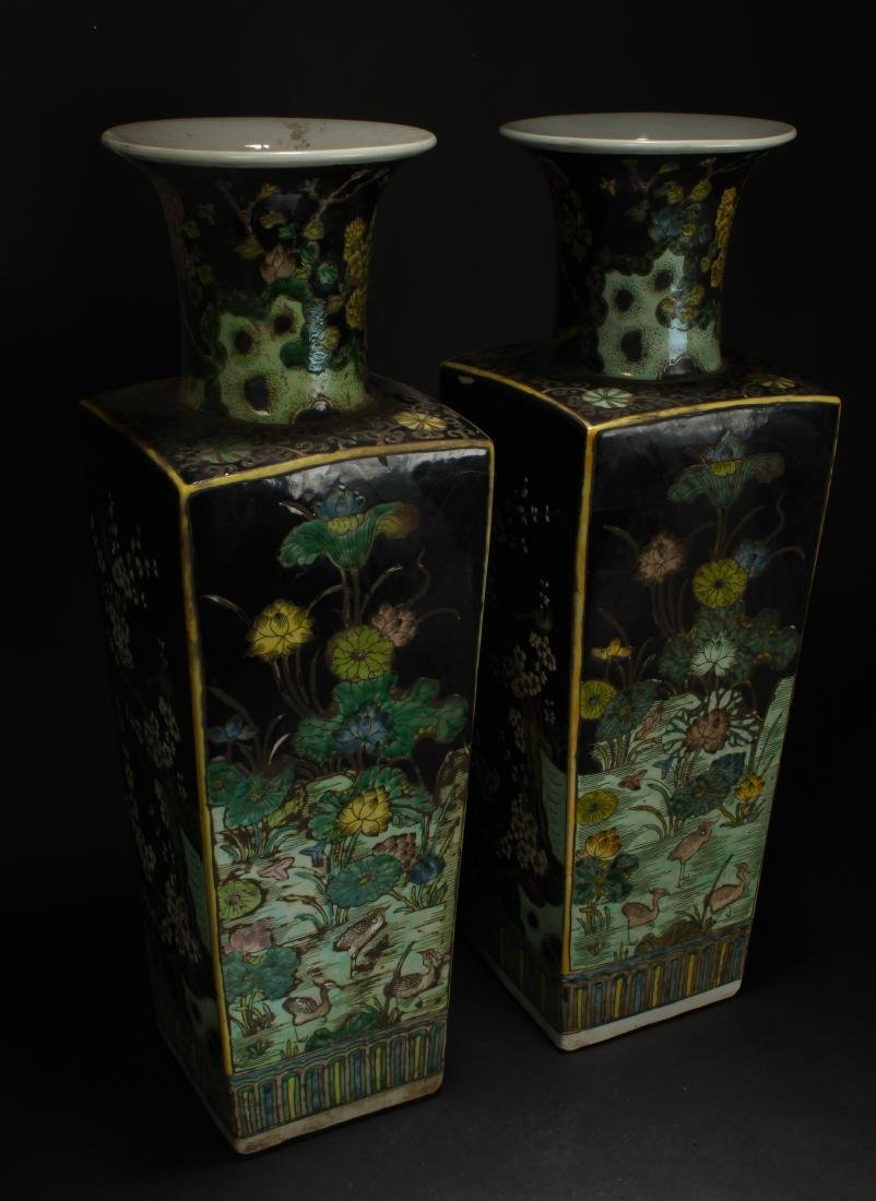 A Pair of Chinese Spring-fortune Porcelain Vases