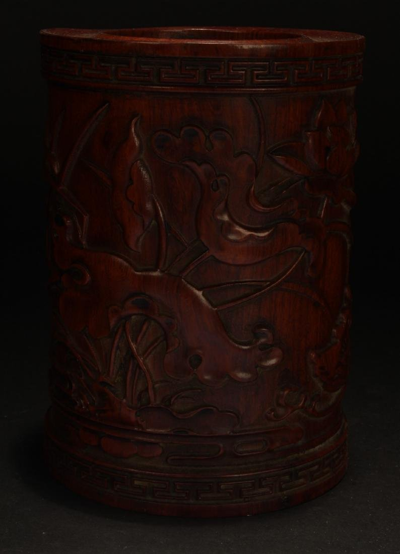An Estate Chinese Wooden Brush Pot