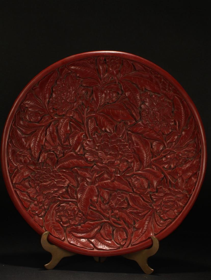 A Chinese Plant-fortune Estate Lacquer Plate