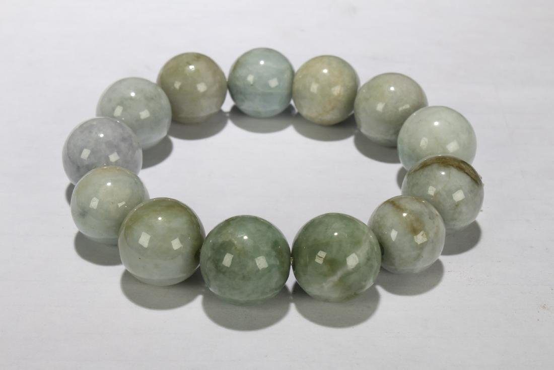 A Chinese Jade-beaded Estate Bracelet