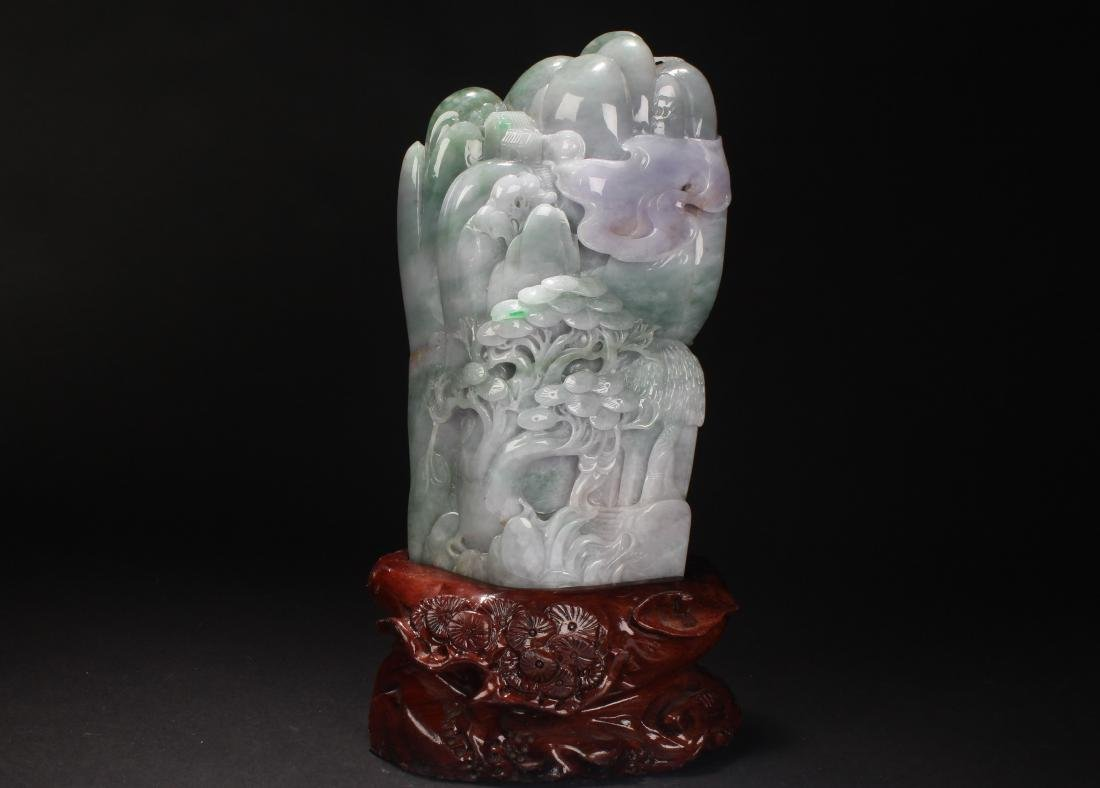 An Estate Chinese Jade-curving Landscape Display