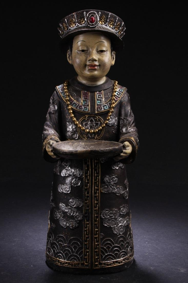 A Chinese Metal-craft Estate Statue Display