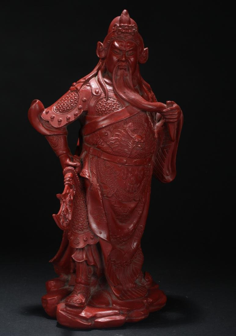 An Estate Chinese Guangong Lacquer Statue