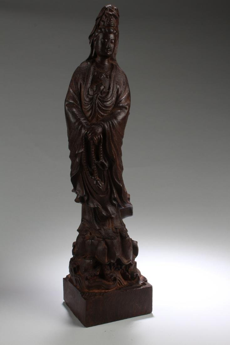 A Chinese Wooden Estate Guanyin Statue Display