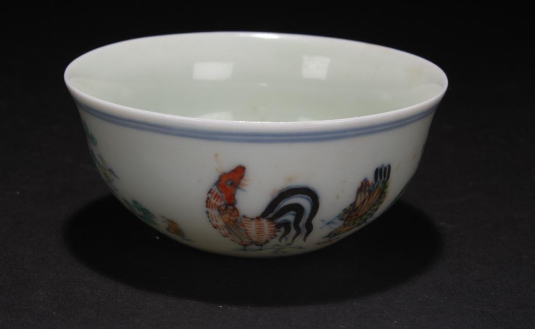 A Chinese Rooster-forutne Estate Porcelain Cup