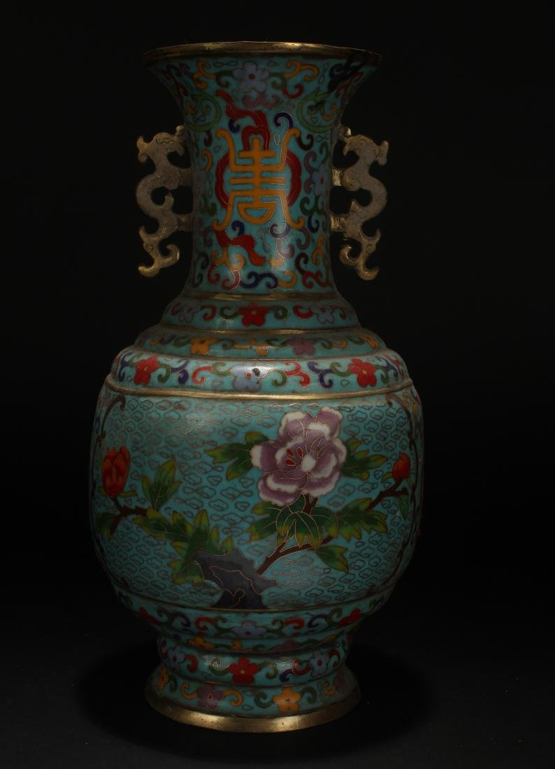 A Chinese Duo-handle Estate Cloisonne Vase Display