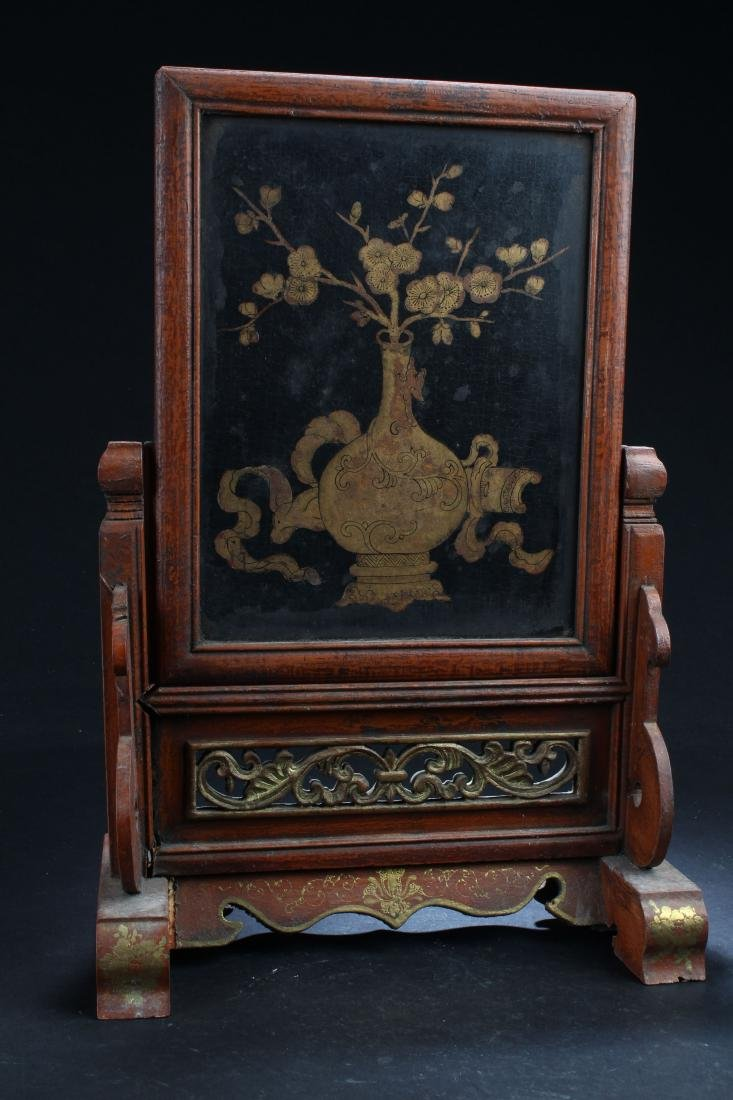 A Chinese Wooden Fortune Estate Table-screen Display