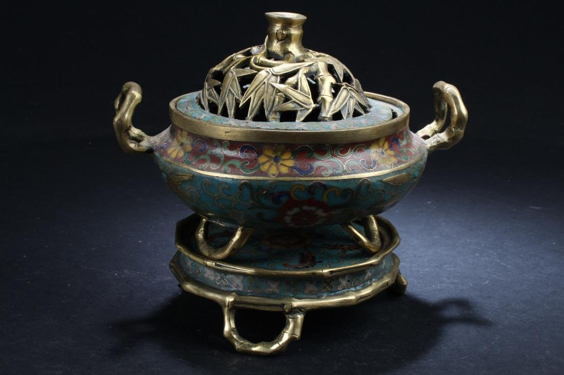 A Seated Estate Chinese Tri-podded Cloisonne  Censer
