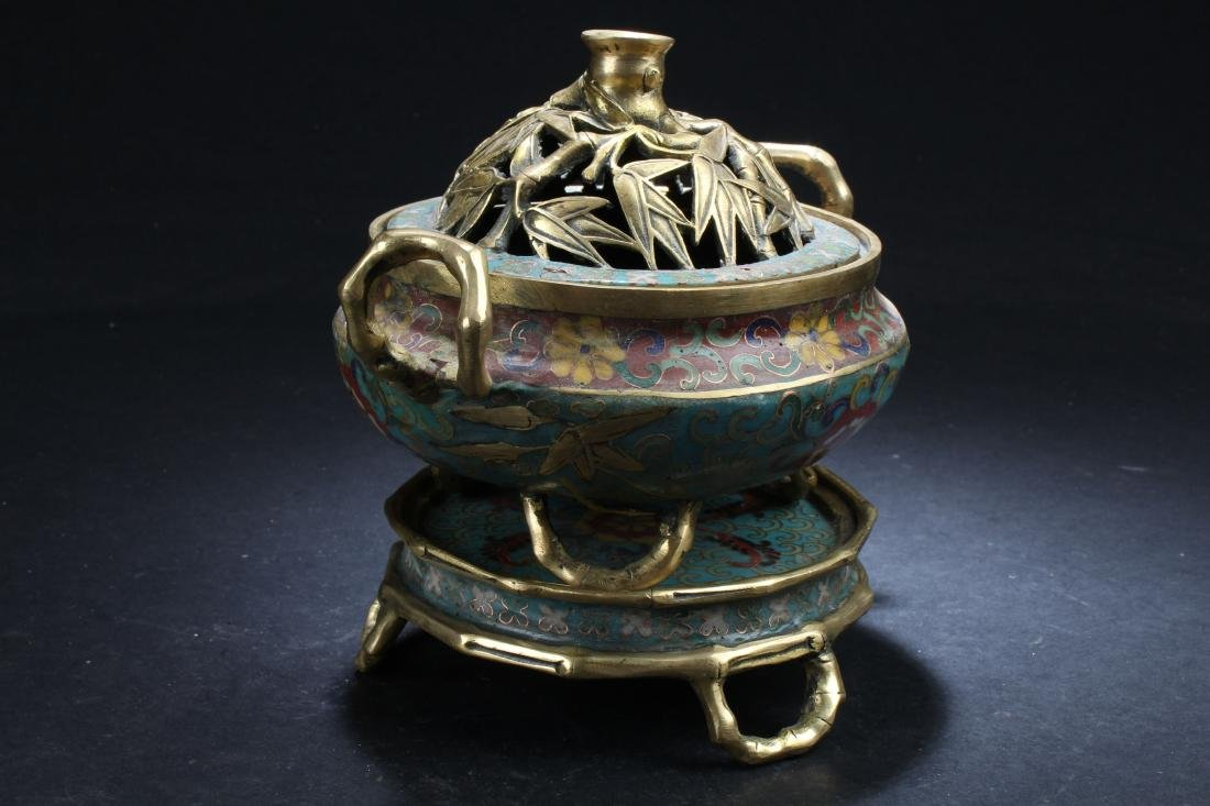 A Seated Estate Chinese Tri-podded Cloisonne  Censer - 2