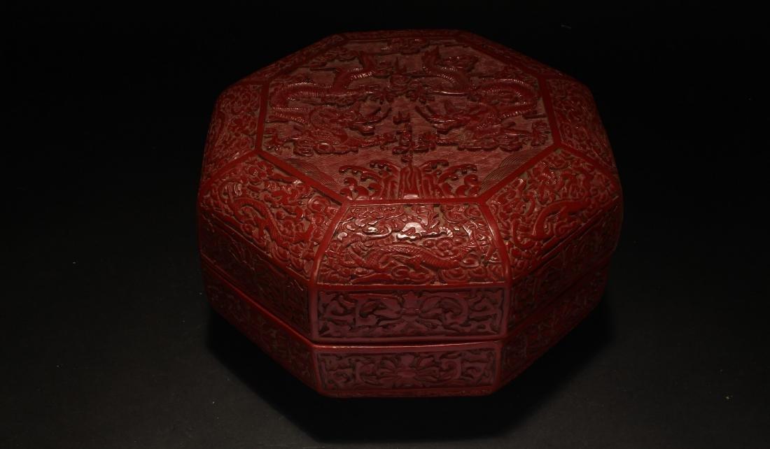 A Chinese Octa-fortune Estate Lacquer Box