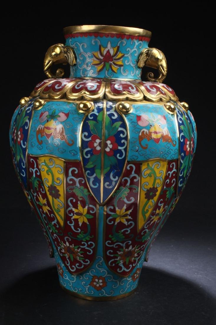 A Chinese Estate Cloisonne Duo-handled Bat-framing Vase