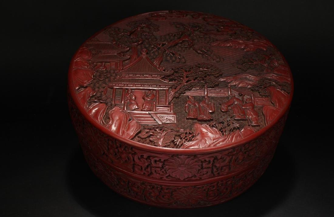 A Chinese Lidded Temple-sceen Lacquer Box