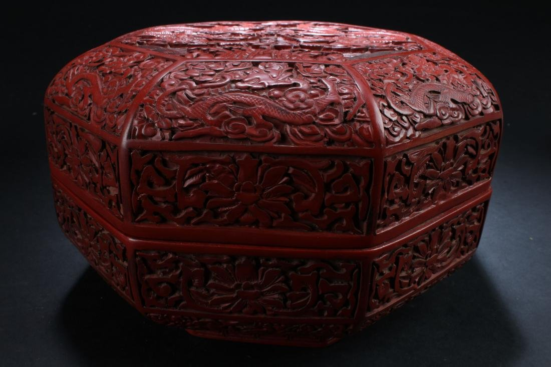 An Octa-fortune Chinese Estate Lacquer Box Display