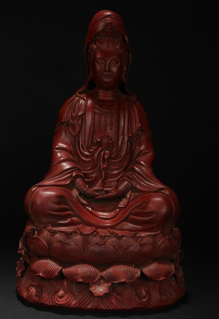 A Chinese Seated Guanyin Lacquer Display Statue