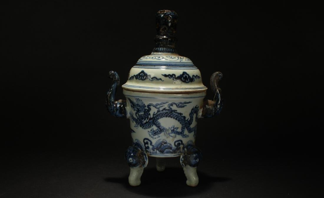 A Chinese Duo-handled Lidded Porcelain Censer