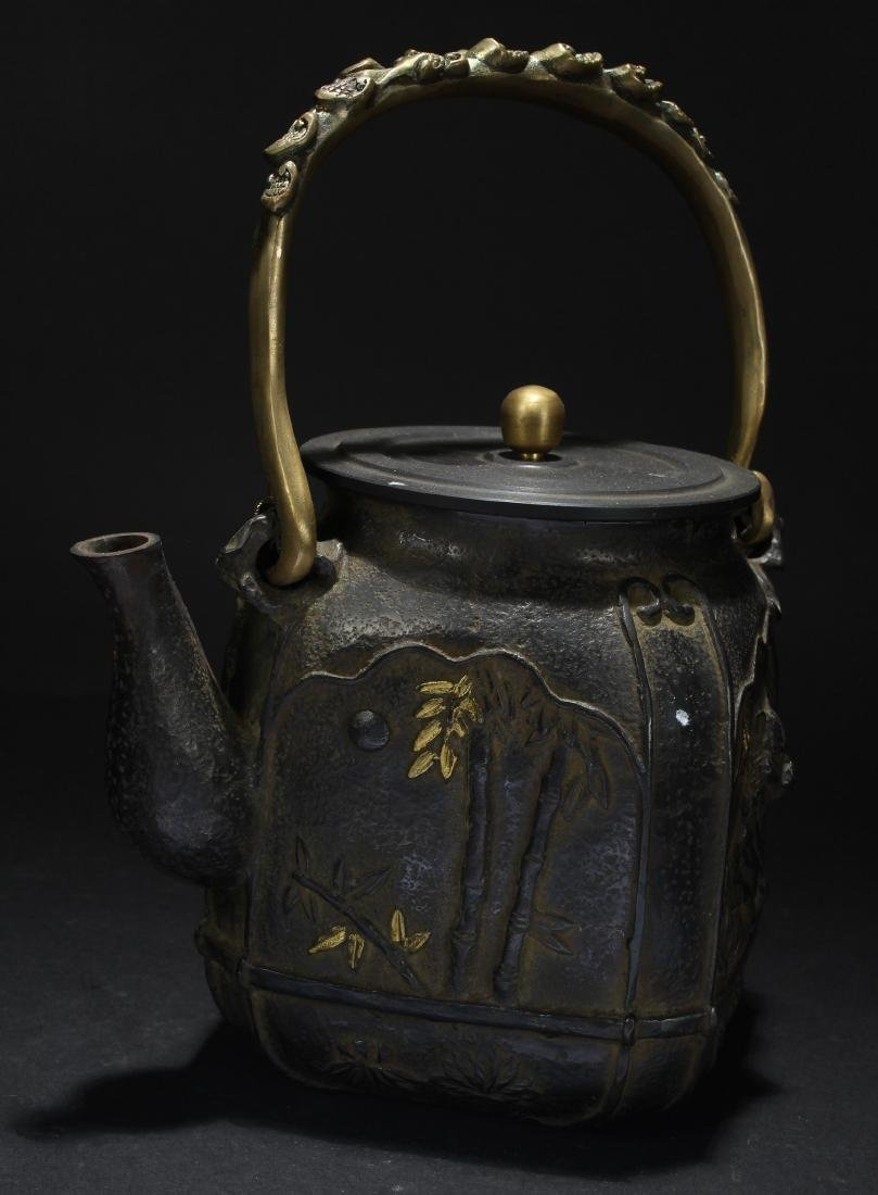 A Chinese Metal High-handled Fortune Tea Pot