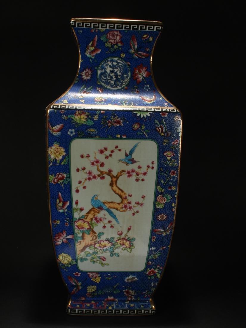 A Chinese Square-based Bat-framing Porcelain Vase
