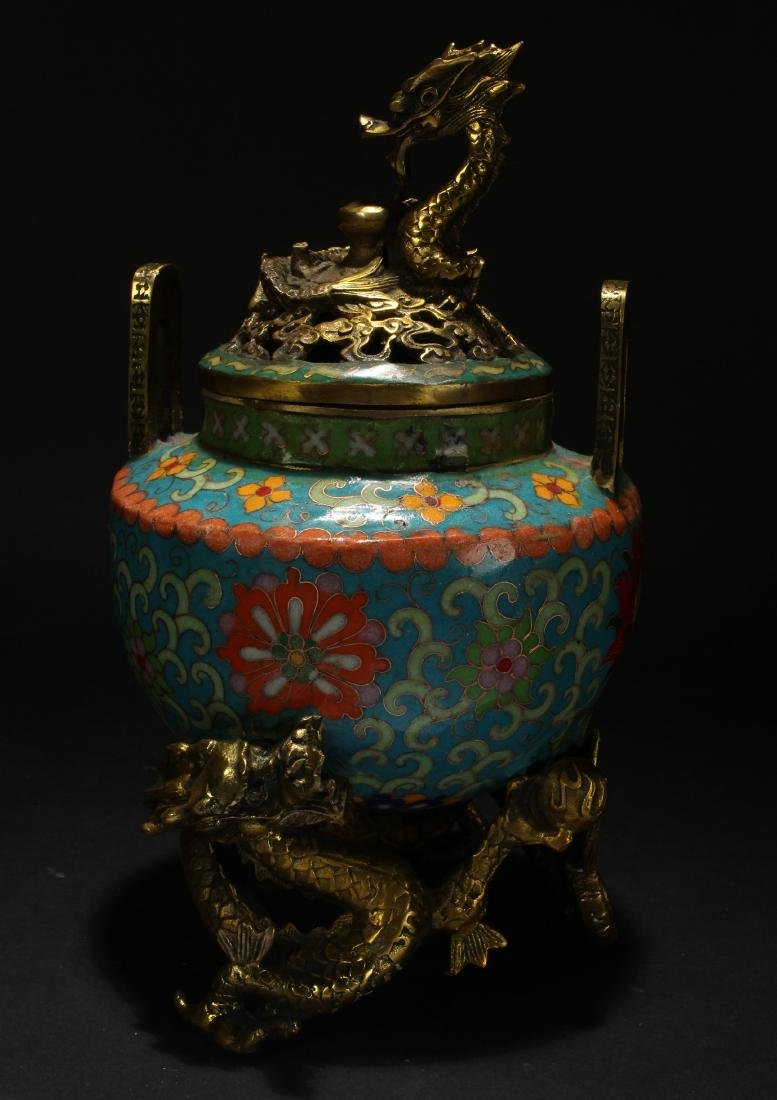 A Chinese Duo-handled Estate Cloisonne Censer