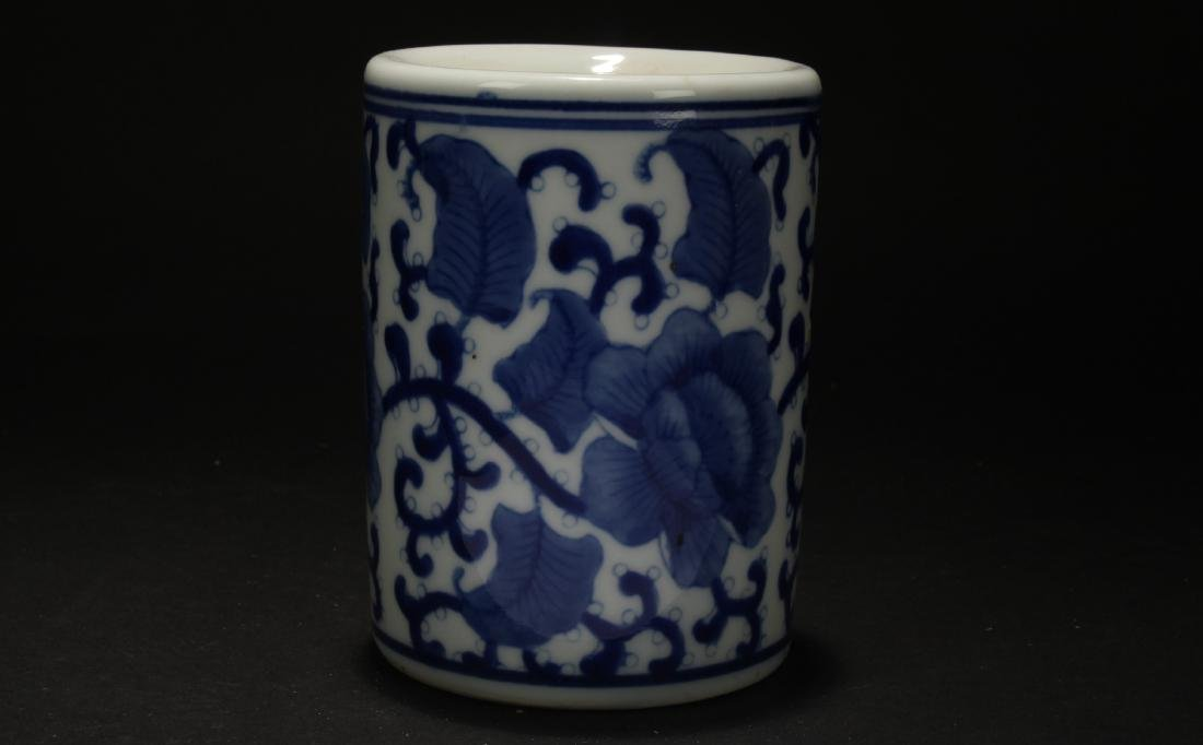 An Estate Blue and White Porcelain Brush Pot