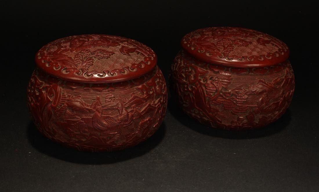 A Pair of Chinese Chess Story-telling Lacquer Boxes