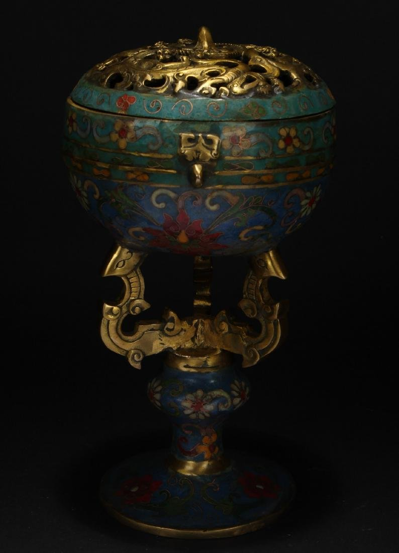A Chinese Tri-podded Circular Cloisonne Censer Display