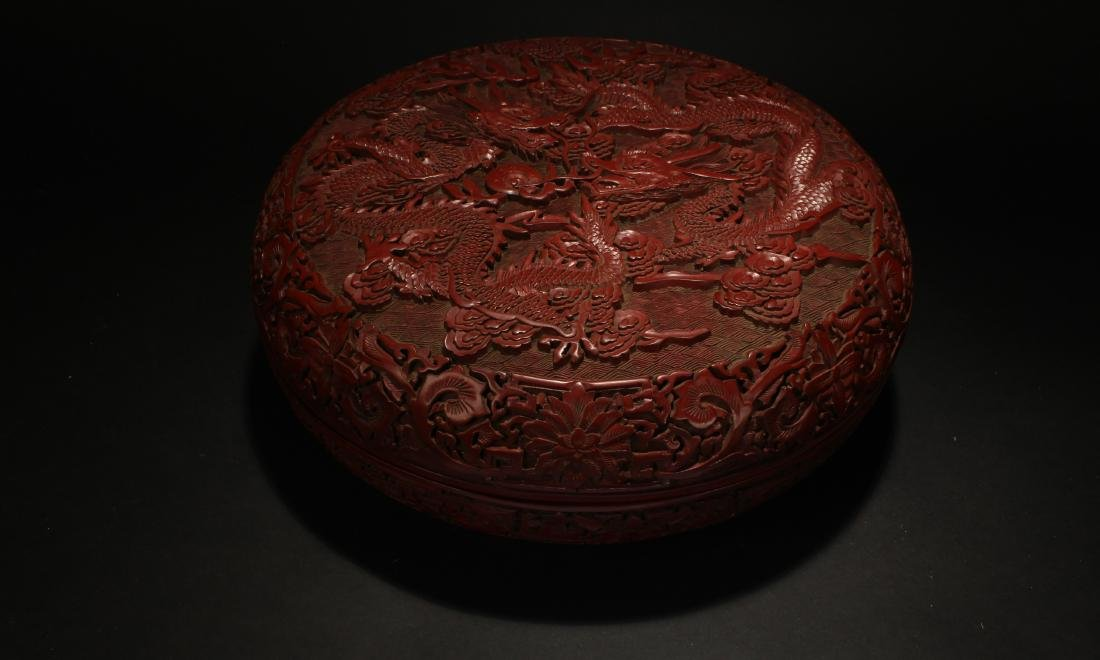An Estate Dragon-decorating Lacquer Box