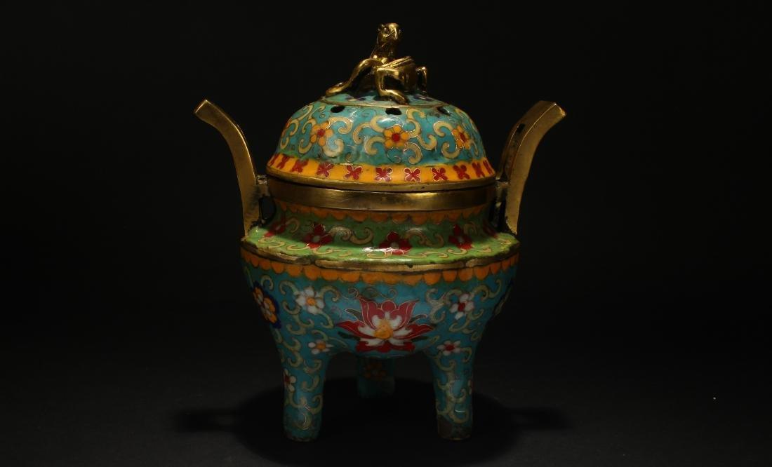 An Estate Chinese Myth-beast Tri-podded Cloisonne