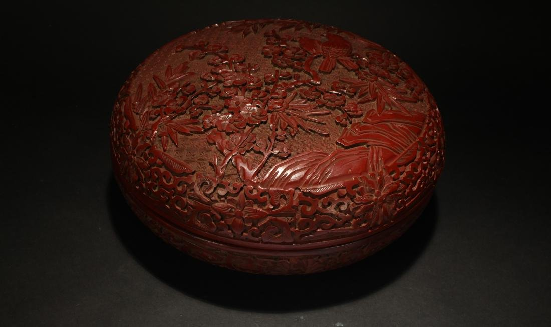A Chinese Spring-fortune Lidded Lacquer Box