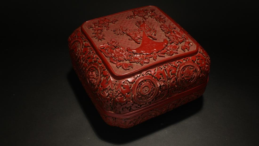 A Lidded Chinese Square-based Estate Lacquer Box