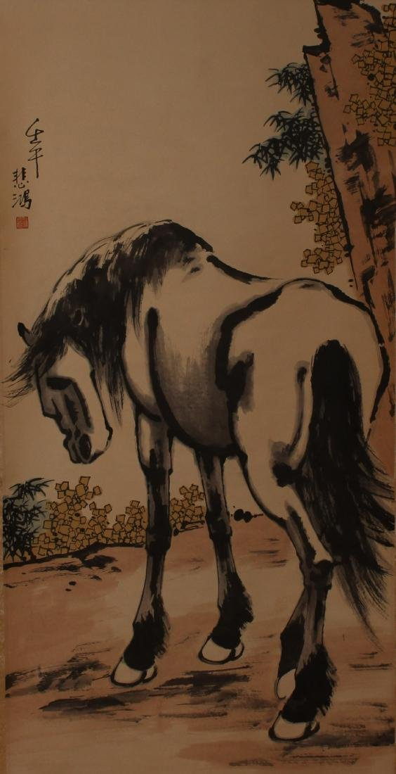 A Chinese Abstract-style Horse-portrait Scroll