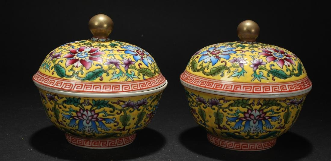 A Pair Of Chinese Bat-framing Porcelain Lidded Bowl