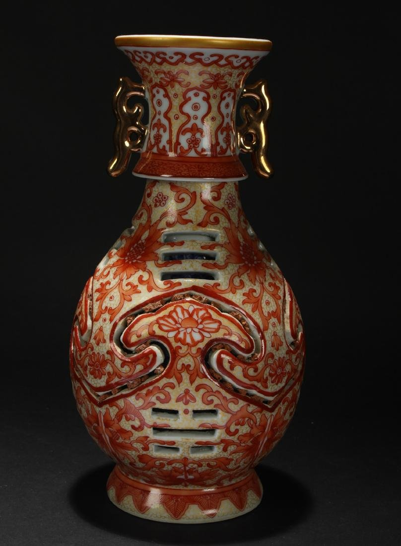 A Chinese Duo-handled Estate Porcelain Red Vase