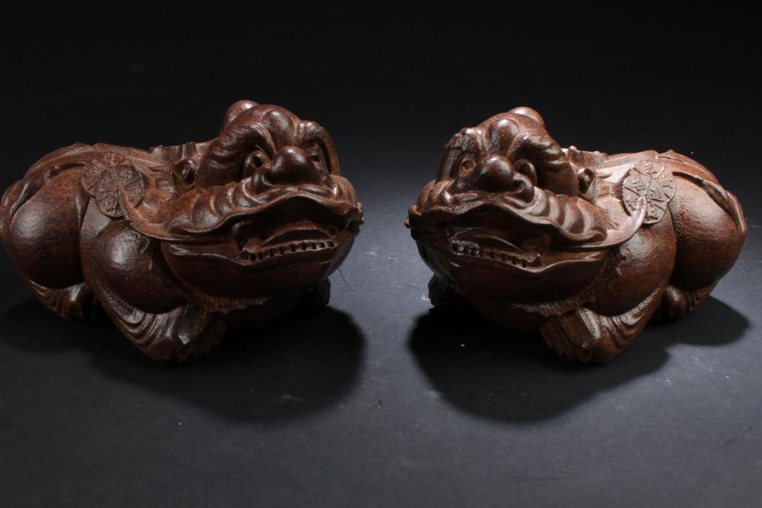 Two Chinese Estate Wooden Myth-beast Display